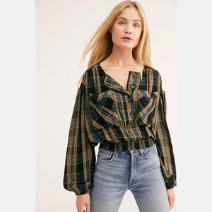 Free People  It's The Good Life Plaid Top